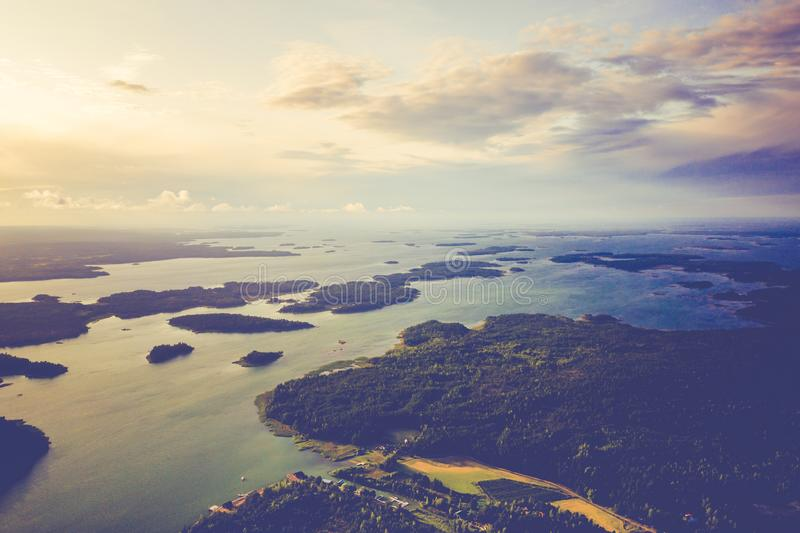 Aerial view of Aland Islands at summer time. Finland. The Archipelago. Photo made by drone from above. Nordic Natural Landscape.  royalty free stock photos