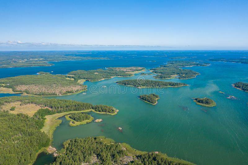Aerial view of Aland Islands at summer time. Finland. The Archipelago. Photo made by drone from above. Nordic Natural Landscape.  royalty free stock photography