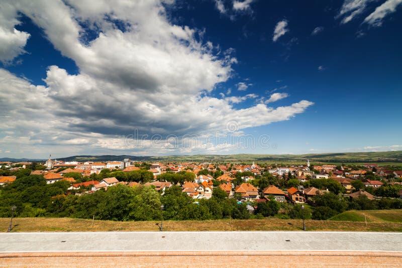 Aerial view of Alba Iulia city stock image