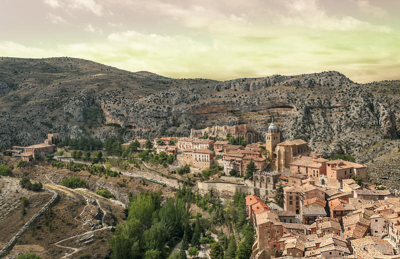Download Aerial view of Albarracin stock image. Image of holiday - 33679125