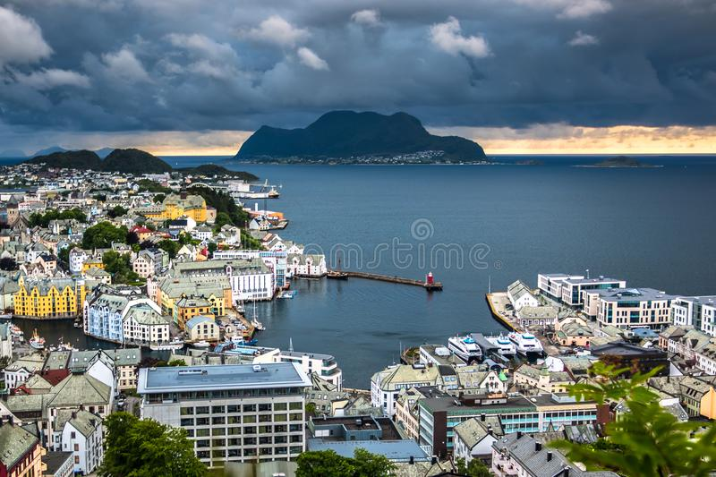 Aerial View of Alesund Center and Ocean with Dramatic Sky after A Rain. Image of Alesund after the rain in Summer taken from Mount Aksla Viewpoint. Alesund is a royalty free stock images