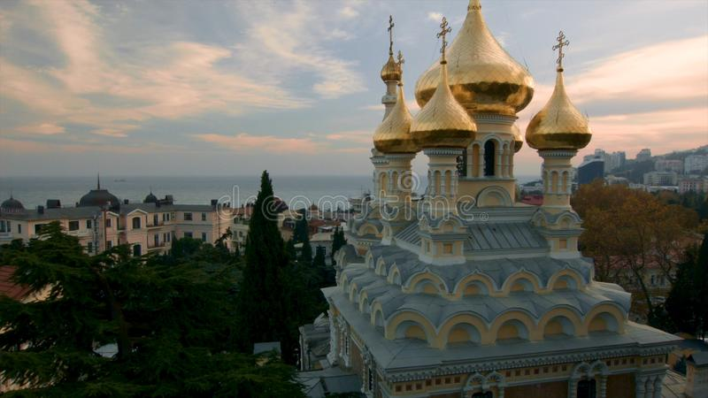 Aerial view on Alexander Nevsky Orthodox church with golden domes in Yalta. Shot. Crimea. Ukraine. Ukraine, Yalta, the royalty free stock image