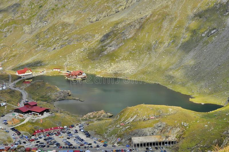 Balea Lake - Aerial view of resort in Carpathians. The Bâlea Lake is a glacier lake situated at 2,034 m of altitude in the Făgăraş Mountains, in stock images