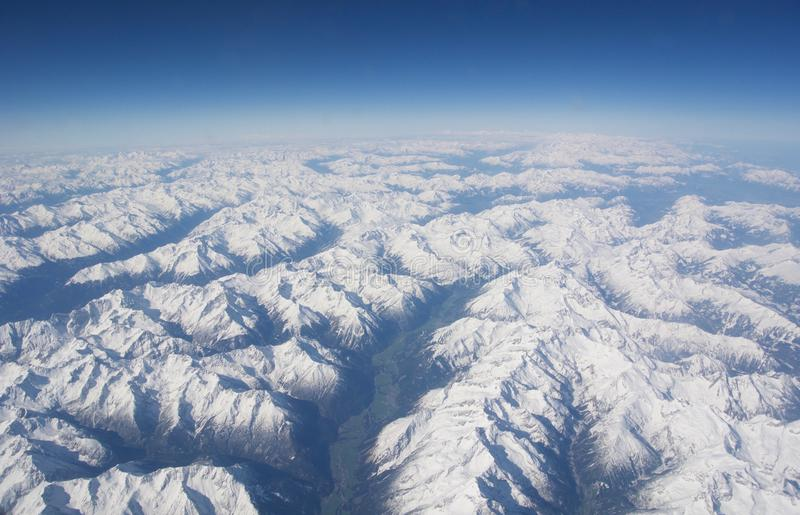 Aerial view of the Alps royalty free stock photography