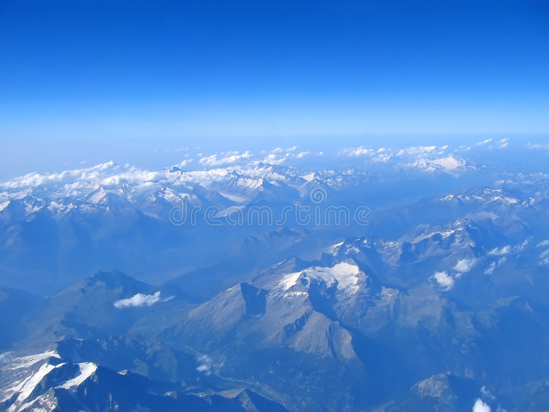 Aerial view of the alps mounts stock photo