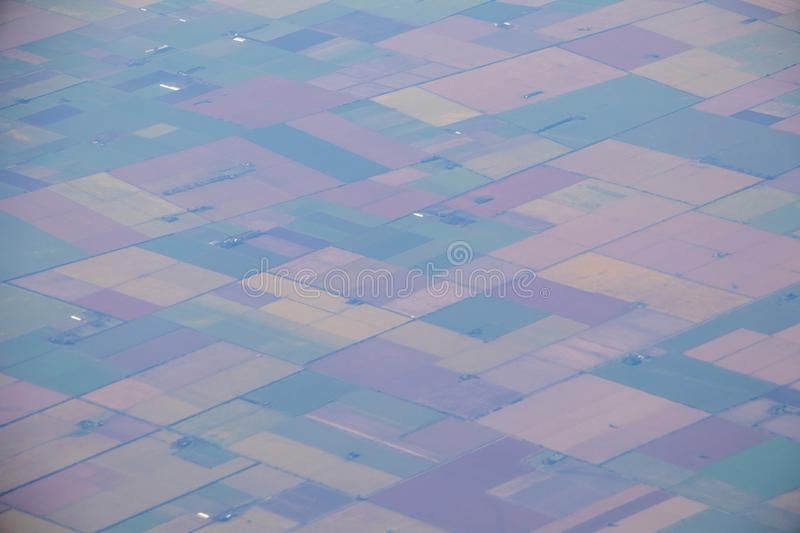 Aerial view of american countryside, farmland from the plane with green agriculture fields royalty free stock photography