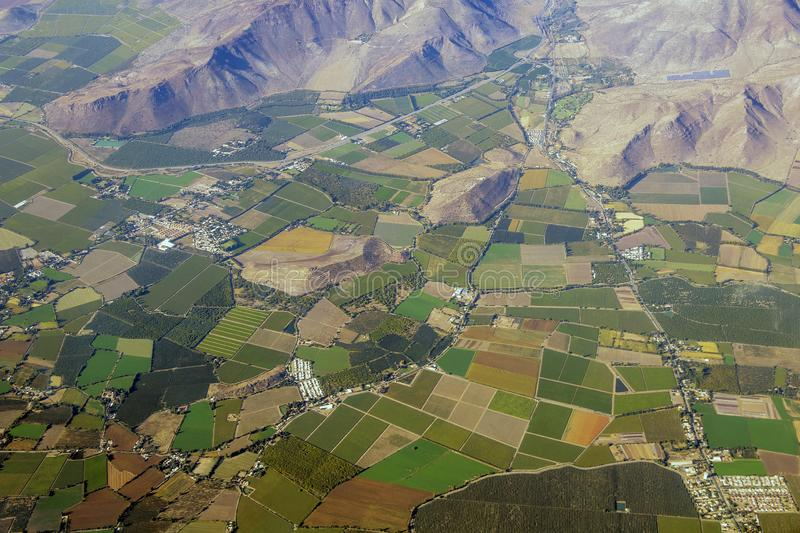 Aerial view of american countryside, farmland from the plane with green agriculture fields stock image