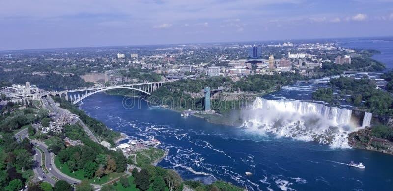 Aerial view of American falls Niagara NY royalty free stock photo