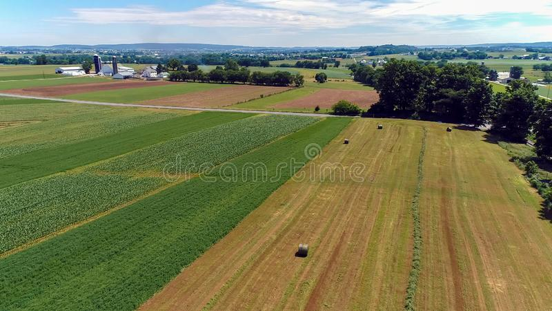 Aerial View of an Amish Farm Countryside. On a Sunny Day royalty free stock photo