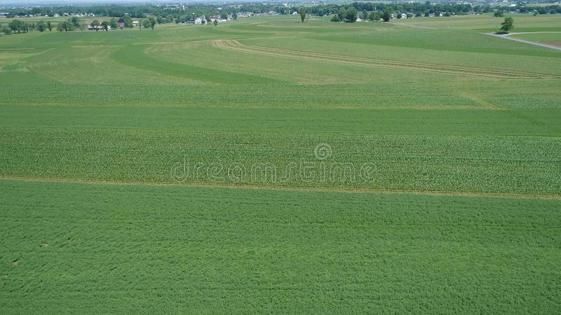 Aerial View of an Amish Farm Countryside. On Sunny Day stock photo