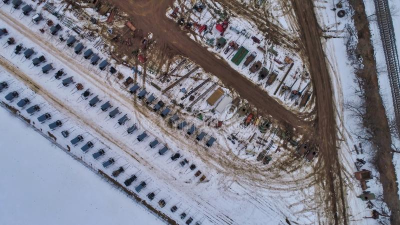 Aerial View of an Amish Winter Mud Sale in the Mud. As seen by a Drone royalty free stock image