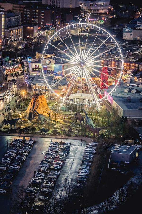 Aerial view of the amusement park with ferris wheel at Niagara Falls in Canada. NIAGARA FALLS, CANADA. December 28, 2018: Aerial view of the amusement park with stock images