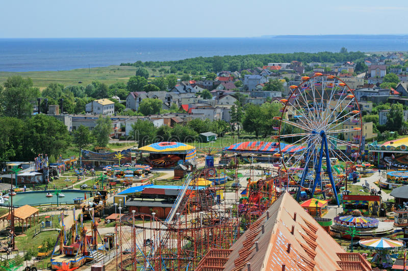 Aerial view at the amusement park and sea stock images