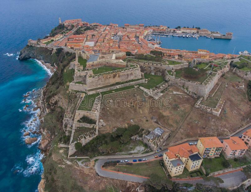 Aerial view of the ancient fortress in Portoferraio on Elba island, Italy. Stone Forte Falcone stock image