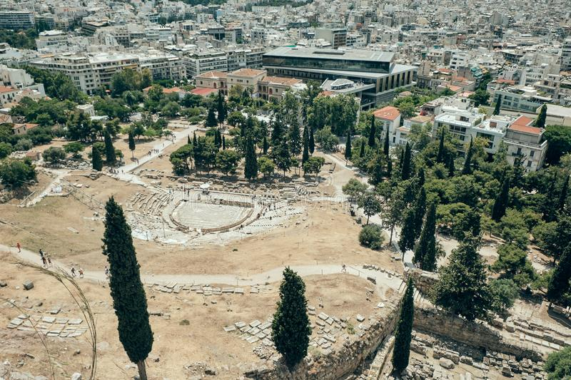 Aerial view ancient ruins in the Acropolis area in a sunny day in the capital of Greece - Athens - travel destination concept stock image