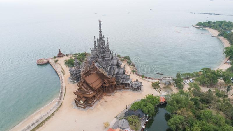 Aerial view ancient temple Sanctuary of Truth in Pattaya stock photos