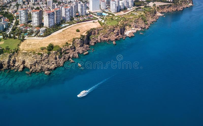 Aerial view at the Antalya, Turkey. Blue sea from air as a background. stock photography
