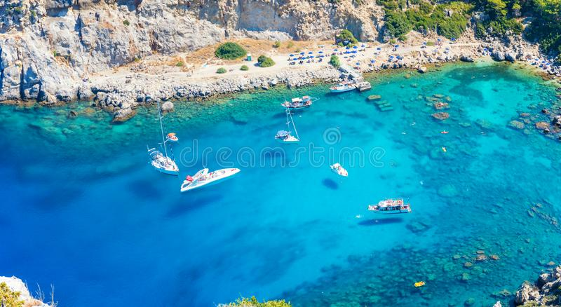Aerial view of Anthony Quinn bay with boats Rhodes, Greece stock photos