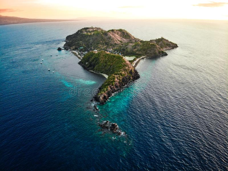 Aerial View of Apo Island, The Philippines royalty free stock photos