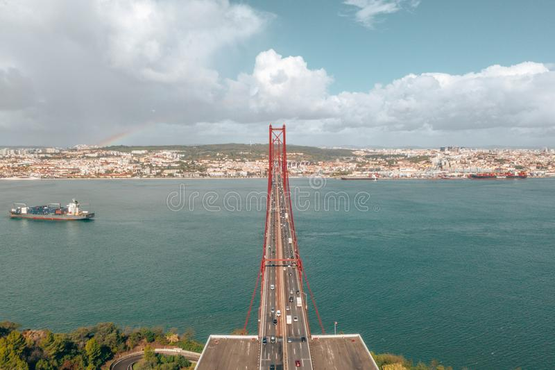 Aerial view of the 25 April bridge is a steel suspension bridge located in Lisbon royalty free stock photos