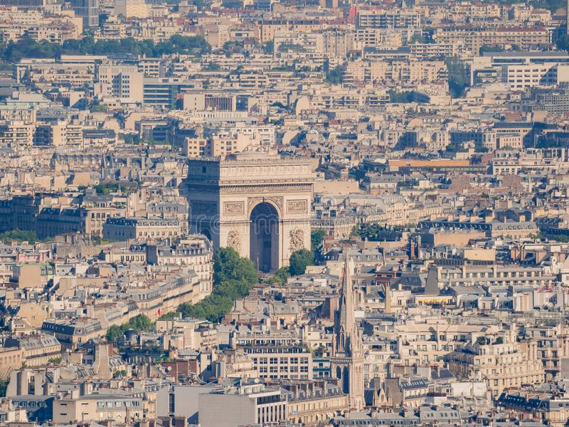 Aerial view of the Arc de Triomphe and cityscape. At Paris, France stock photos