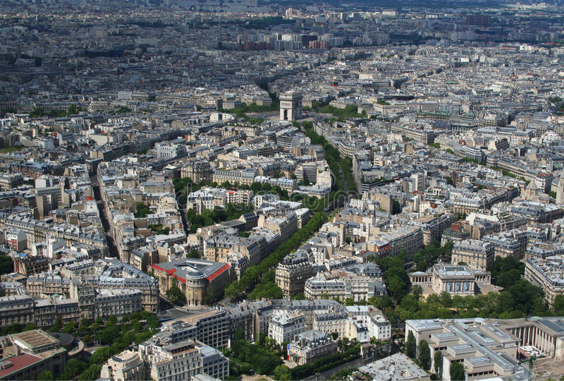 Aerial view of the Arc de Triomphe in Paris stock image