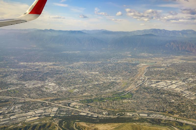 Aerial view of Arcadia, El Monte, Basset, view from window seat. In an airplane, California, U. S. A royalty free stock photography
