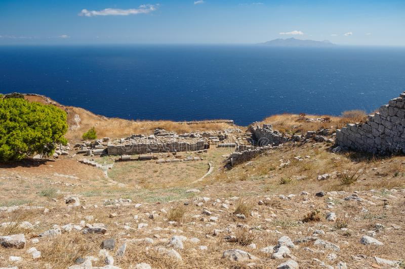 Aerial view of the archeological find of the greek amphitheater stock photography