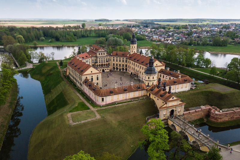 Aerial view of architectual monument, Nesvizh castle in Belarus. Belarusian Historical Heritage of Radzivil Family royalty free stock photo