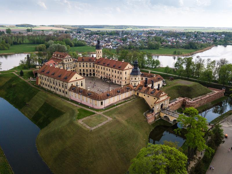 Aerial view of architectual monument, Nesvizh castle in Belarus. Belarusian Historical Heritage of Radzivil Family stock photography