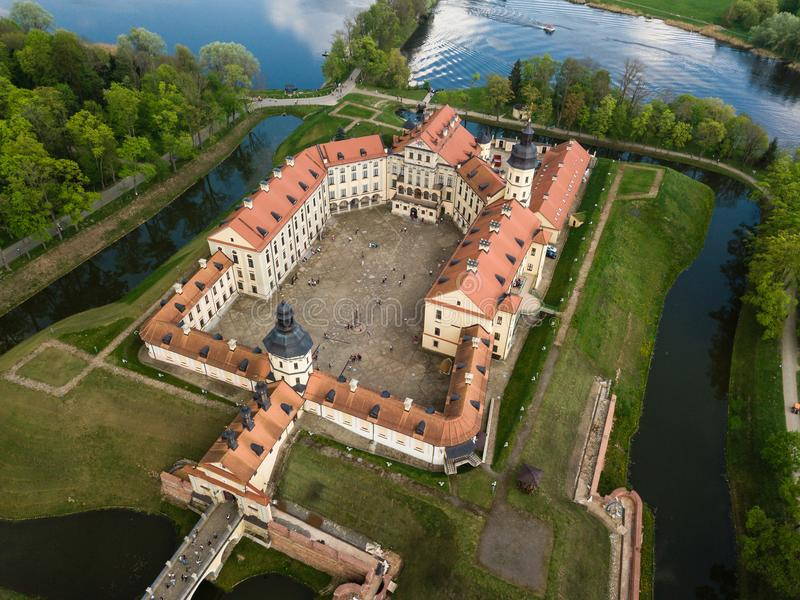 Aerial view of architectual monument, Nesvizh castle in Belarus. Belarusian Historical Heritage of Radzivil Family royalty free stock images
