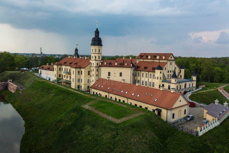 Aerial view of architectual monument, Nesvizh castle in Belarus. Belarusian Historical Heritage of Radzivil Family stock photo