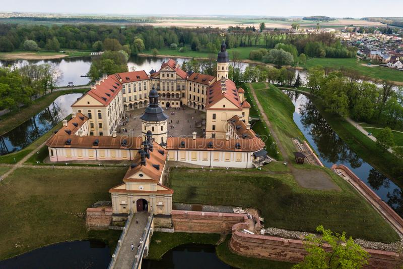 Aerial view of architectual monument, Nesvizh castle in Belarus. Belarusian Historical Heritage of Radzivil Family stock image