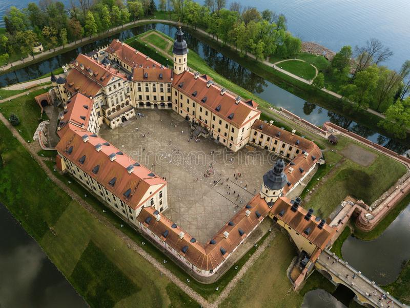 Aerial view of architectual monument, Nesvizh castle in Belarus. Belarusian Historical Heritage of Radzivil Family royalty free stock photography