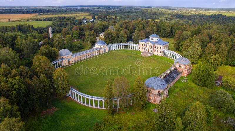 Manor House and Circular Colonnade. Aerial view of Architectural ensemble Manor Znamenskoye-Rayok. The manor house and the circular colonnade connecting it with stock photography