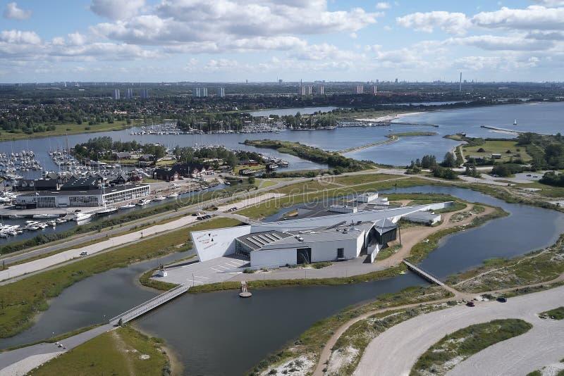 Arken Museum of Modern Art, Denmark. Aerial view of Arken Museum of Modern Art located on Zealand in Denmark stock image