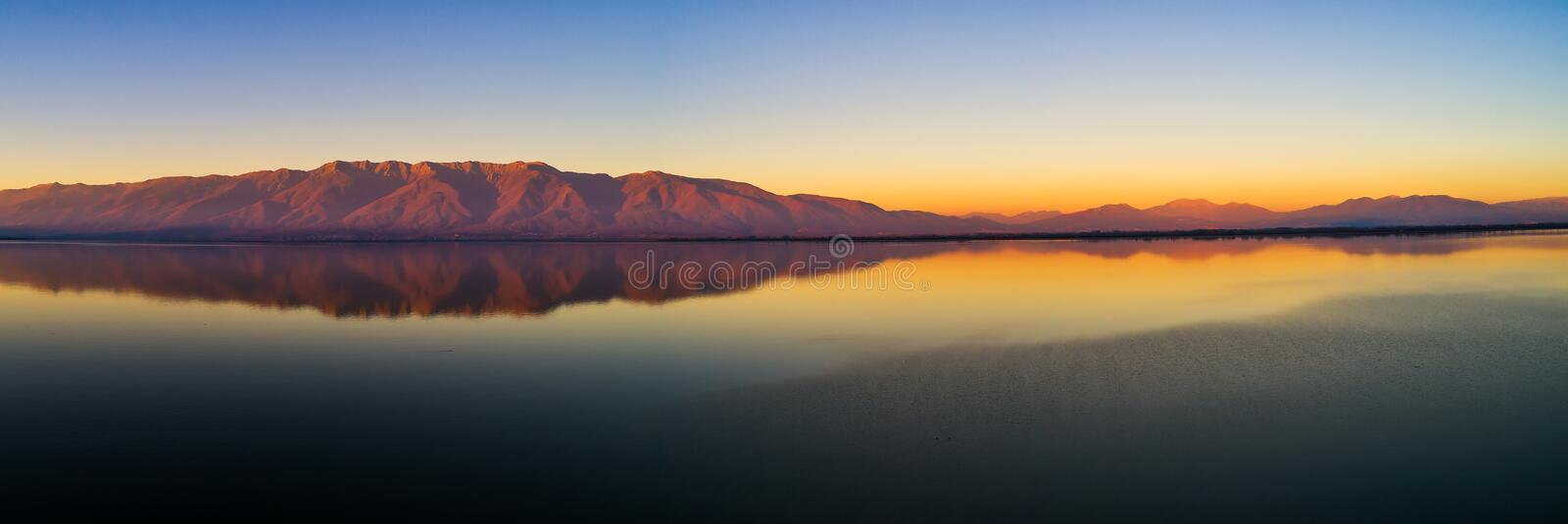 Aerial view of the artificial lake Kerkini and her mountain rang royalty free stock image