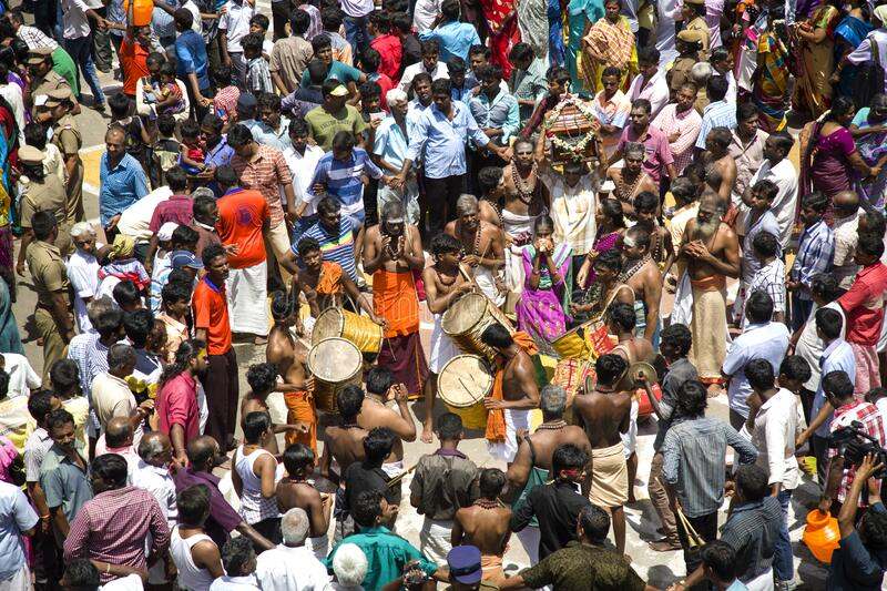 Aerial view of artists performance in a festival crowd tirunelveli, tamilnadu, india. JUNE 19 2016,  TIRUNELVELI, TAMILNADU, INDIA : aerial view of devotional stock photo