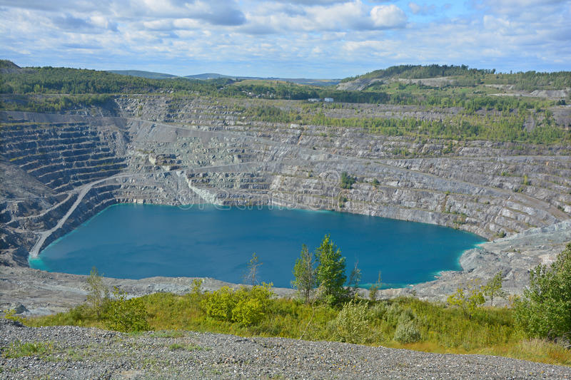 Aerial view of Asbestos mine. Asbestos, Quebec, Canada. Asbestos is a set of six naturally occurring silicate minerals used commercially for their desirable royalty free stock photo