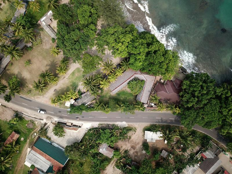 Aerial View of Asphalt Road royalty free stock photo