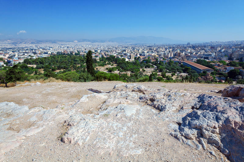Aerial View on Athens from Acropolis royalty free stock image