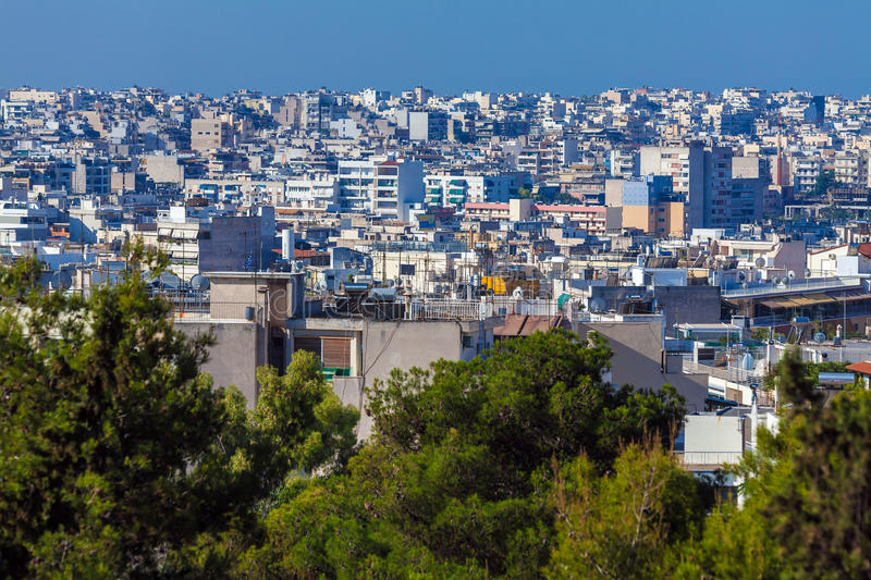 Aerial View on Athens from Acropolis royalty free stock images