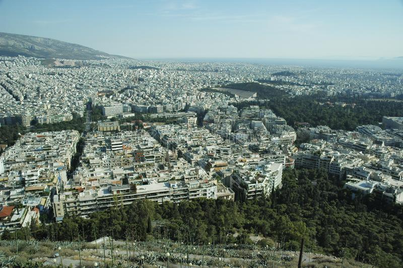 Aerial View Of Athens City, Greece. Aegean Sea At The Far Back stock photos