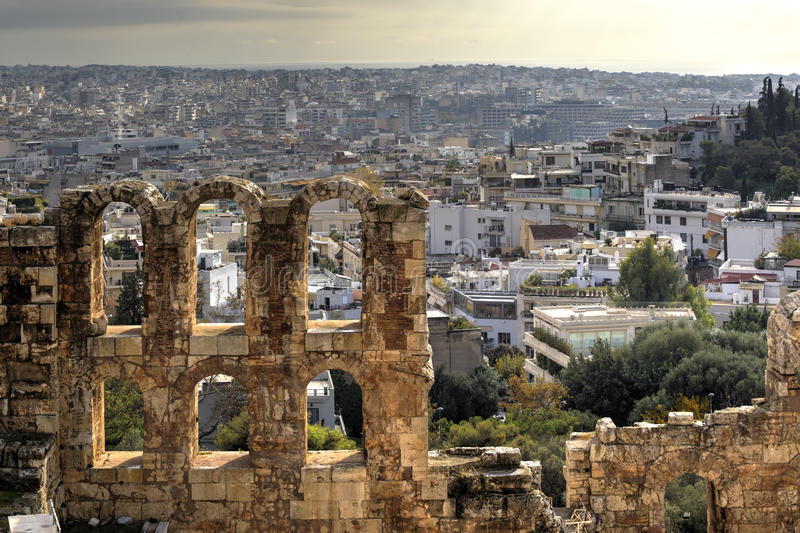 Aerial view of Athens royalty free stock images