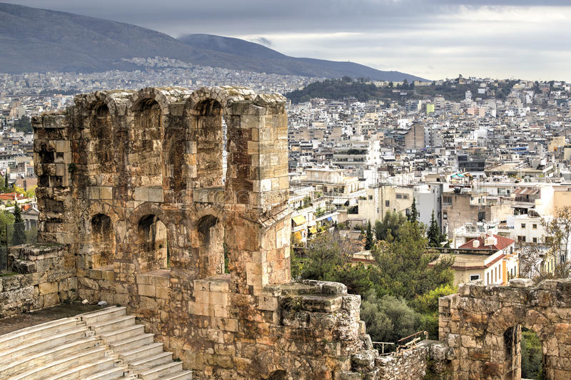 Aerial view of Athens stock image