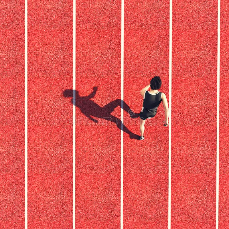 Athlete running track. Aerial view of an athlete exercising on running track.3d illustration vector illustration