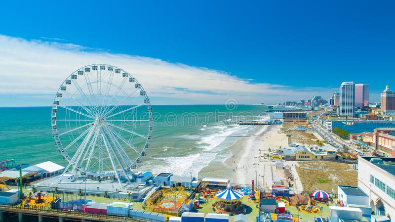AERIAL VIEW OF ATLANTIC CITY BOARDWALK AND STEEL PIER. NEW JERSEY. USA. royalty free stock photography