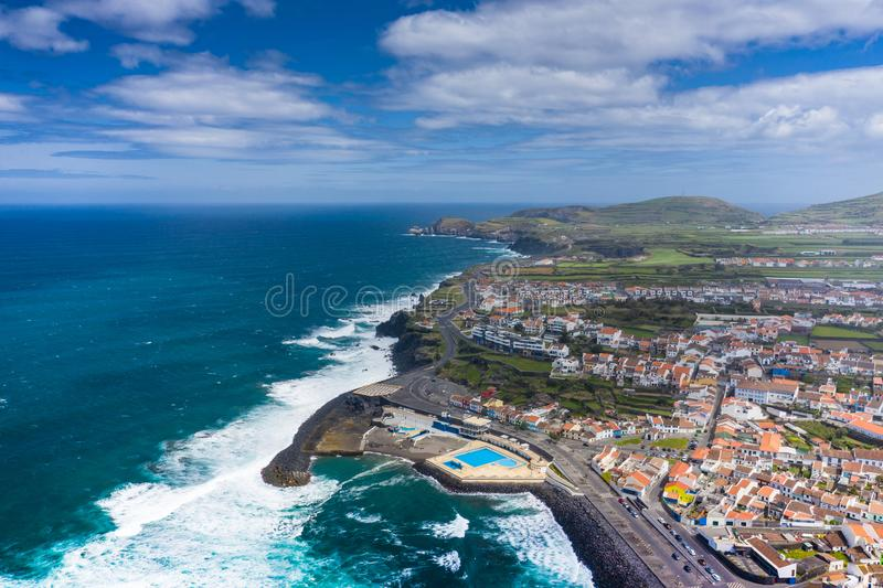 Aerial view of Atlantic coast at Ribeira Grande. Blue water and clouds. Island of Sao Miguel, Azores Islands, Portugal, Europe royalty free stock photos