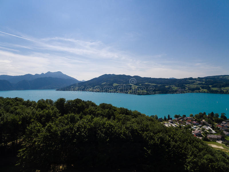AERIAL view of Attersee lake, Attersee, Upper Austria, Austria royalty free stock photography