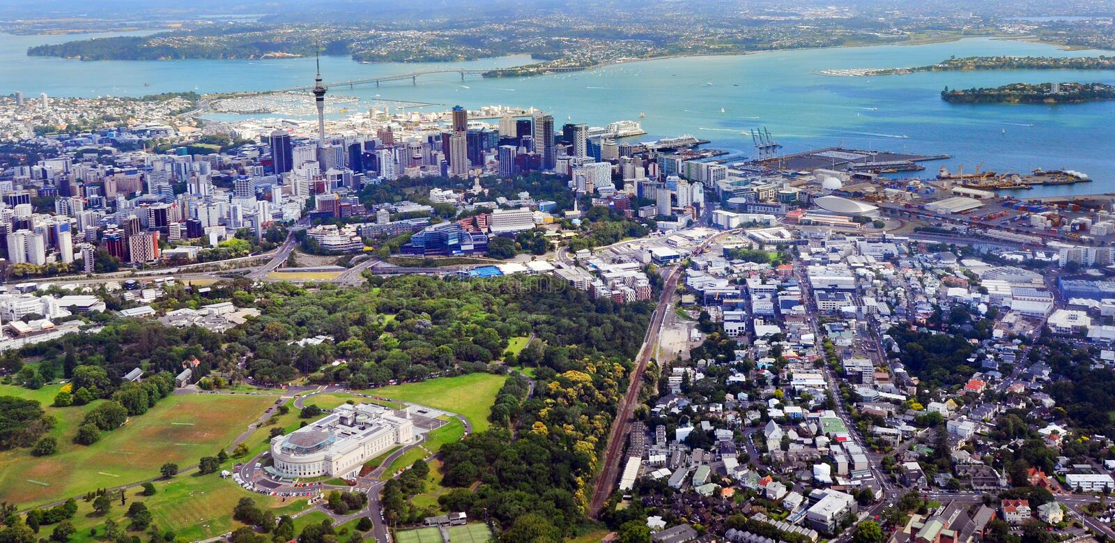Aerial view of Auckland War Memorial Museum against Auckland financial center. royalty free stock image
